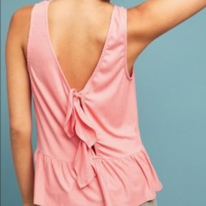Anthropologie Ribbed Bow-Back Tank Top XL